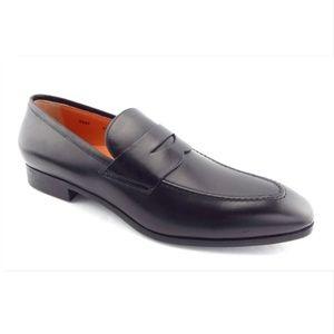 Unworn SANTONI Black Leather Penny Loafers 10